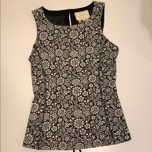 Anthropologie sleeveless textured knit peplum top